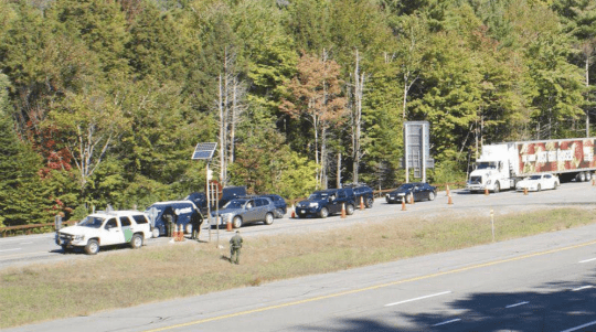 Border Patrol agents at a checkpoint in North Hudson