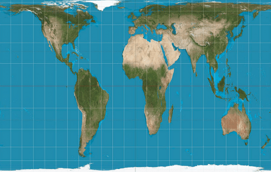 The Gall Peters projection of the world map