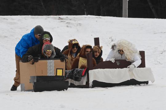cardboard sled racing