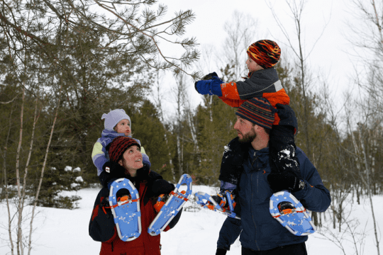 snowshoeing at the wild center