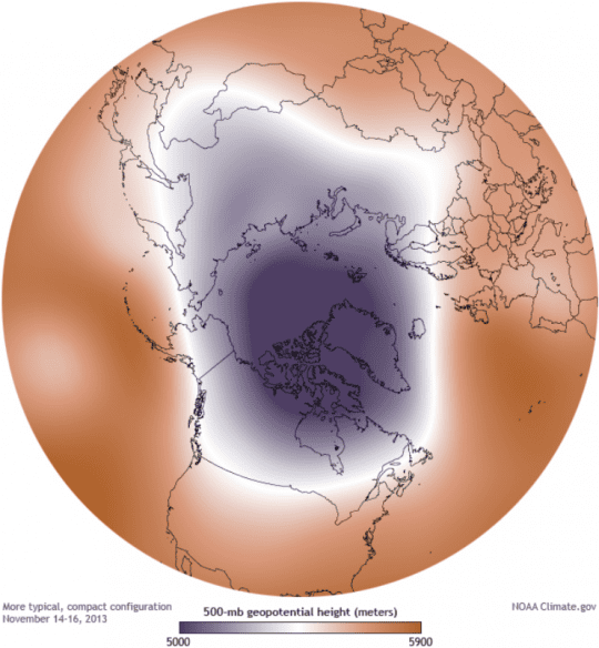 A strong polar vortex configuration in November 2013