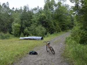 bicycling on a Wild Forest corridor near the Cedar River