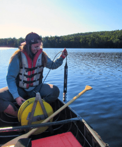 Collecting water quality data from Fawn Lake