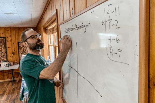 Jesse Bruchac giving Abenaki lessons