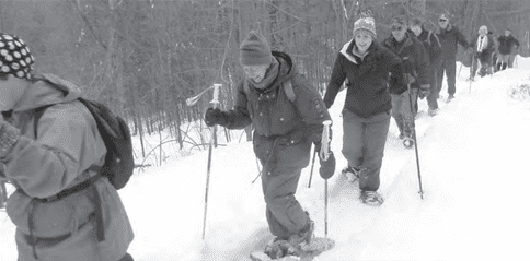 snowshoe trek at the Pinnacle
