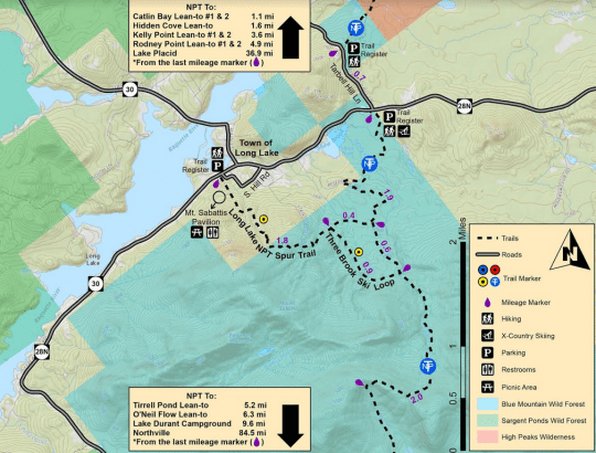 Long Lake NPT Spur Trail Map