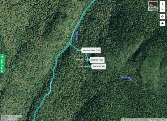 Wanika Falls Trail courtesy Adirondack Atlas