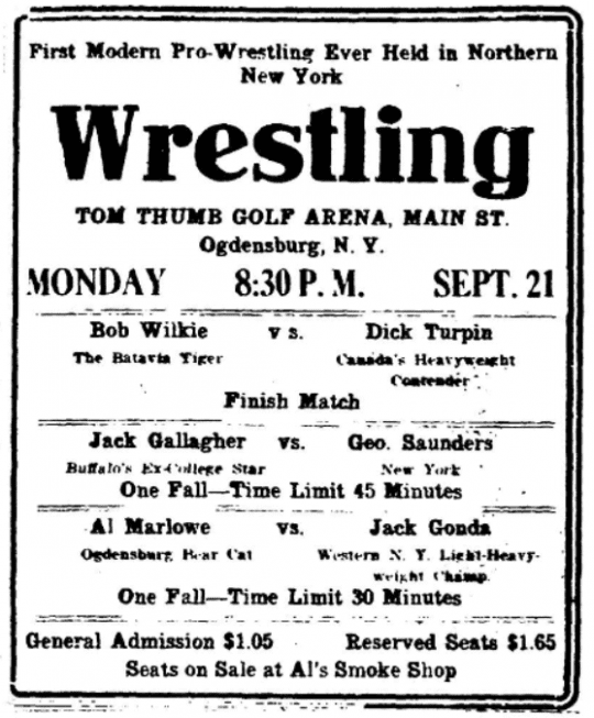 first modern pro wrestling ever held in northern new york