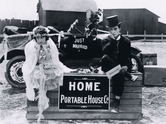Buster Keaton and Sybil Seeley in the silent comedy short One Week