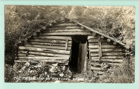 Hiram Burkes Log Shanty on Twitchell Lake