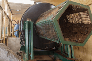 large scale drum composter at North Country School Camp Treetops in Lake Placid
