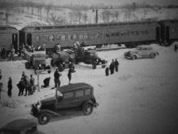 a ski train at the Delware & Hudson Railroad's North Creek Depot in 1935 (Courtesy The Adirondack Branch)