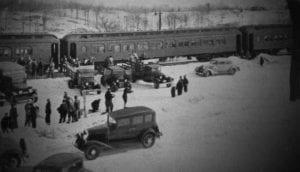 a ski train at the Delware & Hudson Railroad's North Creek Depot in 1935 (Courtesy The Adirondack Branch)