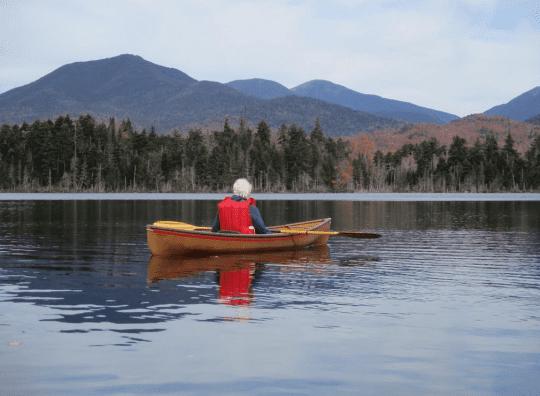 Monique and mountains at Boreas Ponds