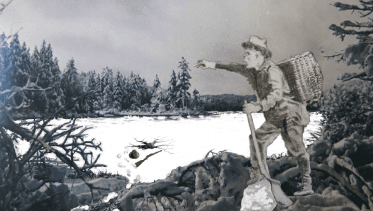 Pencil Sketch of Guide Amos Spafford on Winter Photo of Twitchell Lake