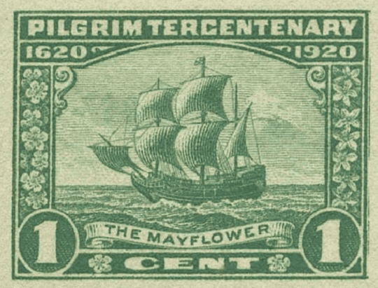 The Mayflower depicted on a 1920 US postage stamp