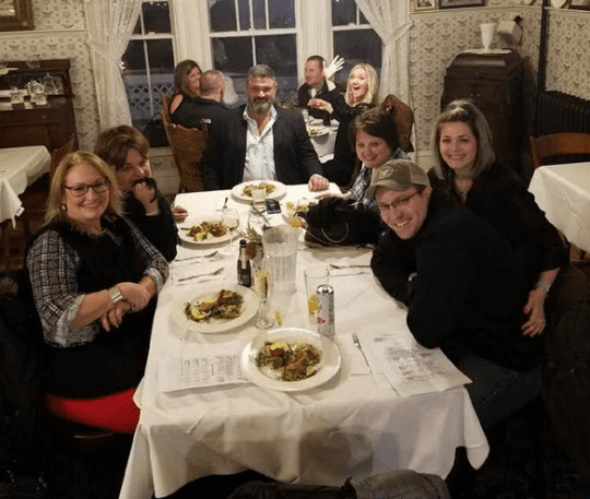 Group enjoying the Hors DOeuvres Tour at the Adirondack Hotel in 2019