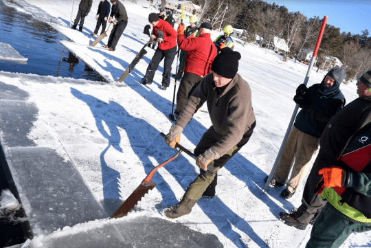 Saranac Lake Winter Carnival First Day of Ice Palace Construction