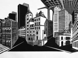 Smallbany woodblock print by Katherine Chwazik