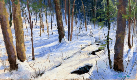 Takeyce Snow Covered Stream 6x10 pastel