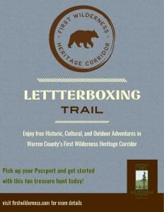 letterboxing flyer, enjoy free historic, cultural, and outdoor adventures in warren county's first wilderness heritage corridor. pick up your passport and get started with this fun treasure hunt today!
