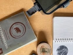 letterboxing supplies including passport and stamps