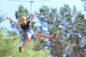 girl on a zip line