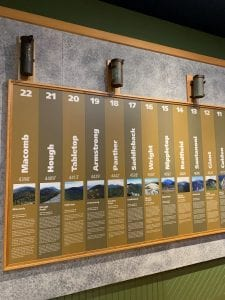 A collection of 46er hiking canisters in the Hiking Exhibit.