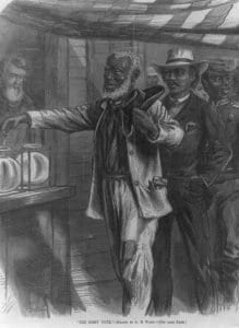 the first vote of a black person in america drawn by ar waud
