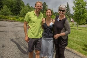 Adirondack Conservationist of the Year Barbara Glaser of Raquette Lake and Saratoga Springs poses with Clarence Petty Interns and newlyweds Lowell Bailey and Erika Edgely Bailey, at Heaven Hill Farm in Lake Placid in 2014