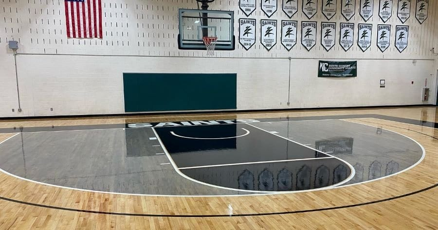 North Country Community College recently completed a resurfacing and rebranding of the gymnasium floor in the Sparks Athletic Complex.