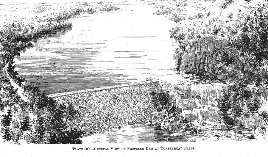 Line drawing of the proposed Tumblehead Falls Dam (1895 )