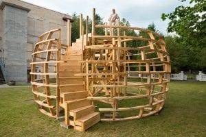 sculptor randi renate with infrastructure of new sculpture