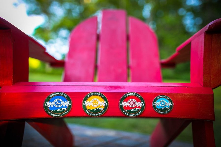 wow patches on an adirondack chair