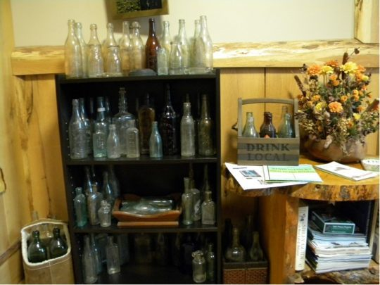 bottles on shelves