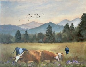 cows in clover, a painting by susan whiteman